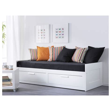ikea day bed brimnes day bed w 2 drawers 2 mattresses white moshult