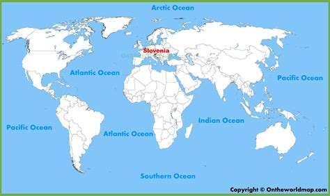 world map for slovenia location on the world map