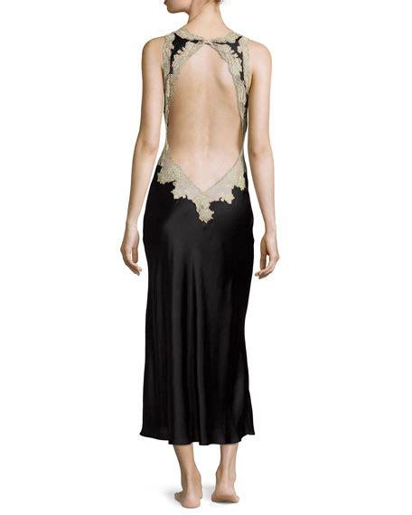 Nightdress Black Laces Gstring Ln1218 josie natori lace trim open back nightgown black neiman