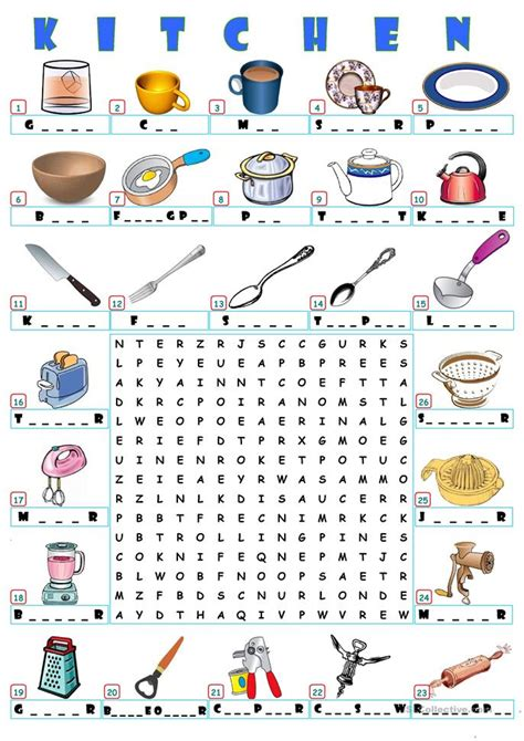 Word For Kitchen by Home Kitchen Wordsearch Worksheet Free Esl Printable