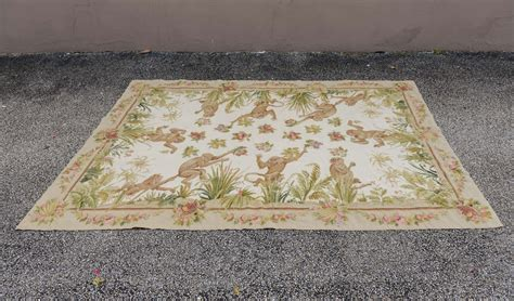 monkey rugs made wool needlepoint rug with monkeys at 1stdibs