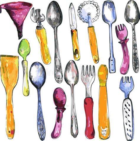 Drawing Utensils by Set Of Kitchen Utensil Stock Vector Image 49159405