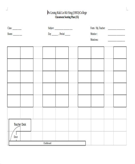 Seating Plan Classroom Template