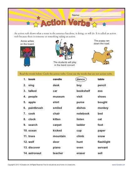 action verbs 1st grade verb worksheets