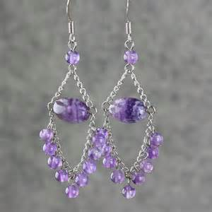 amethyst dangling chandelier earrings by annidesignsllc on