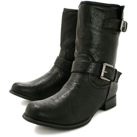 buy logan flat buckle biker ankle boots black leather style