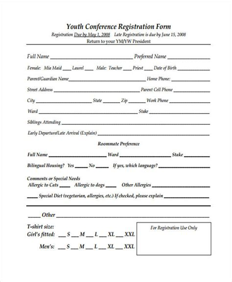 youth registration form template 21 conference registration forms