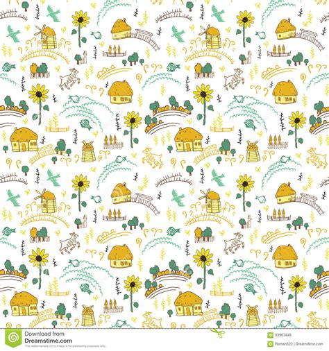 seamless pattern houses seamless pattern with houses stock vector illustration