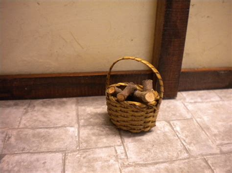 Fireplace Log Baskets by Dolls House Fireplace Log Basket With Handle