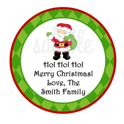 personalized santa claus christmas stickers holiday gift tags