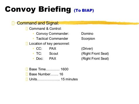 army briefing template biap convoy briefing 051805