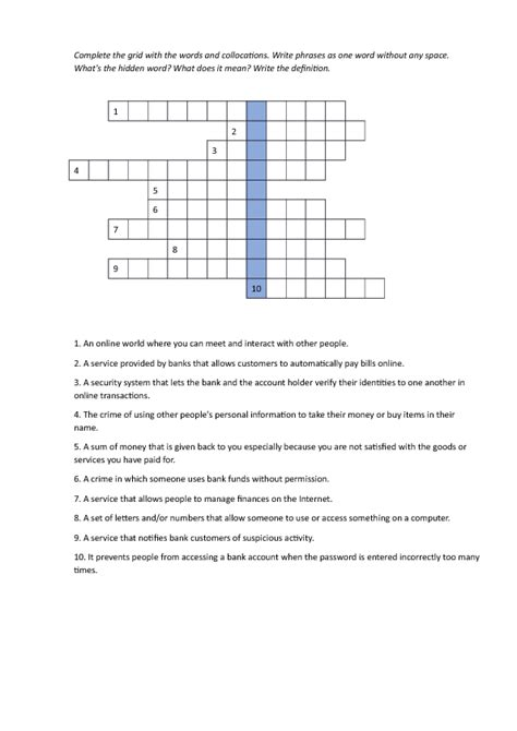 Banking Insurance Letters Crossword Banking Crossword With Answer Key General Weather 7 Letters Letter Sle