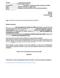 Exemple De Lettre De Demande De Caution Bancaire Lettre De Demande 224 Une Caution Solidaire De Rembourser