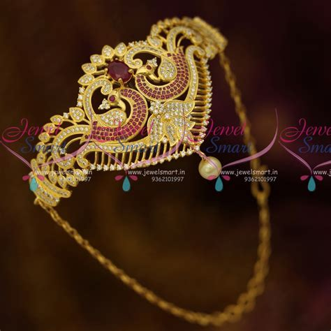 Lightweight Bajuband ar10566 ad jewellery belt vanki bajuband adjustable ruby white stones gold plated ethnic