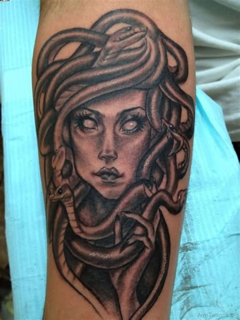 tattoo black and grey ink 73 classic medusa tattoos on arm