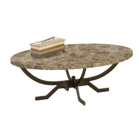 bowery hill oval faux marble top coffee table in matte