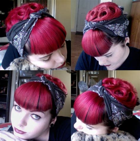 how to wear a bandana with bangs manic panic vire red victory rolls bettie bangs 2