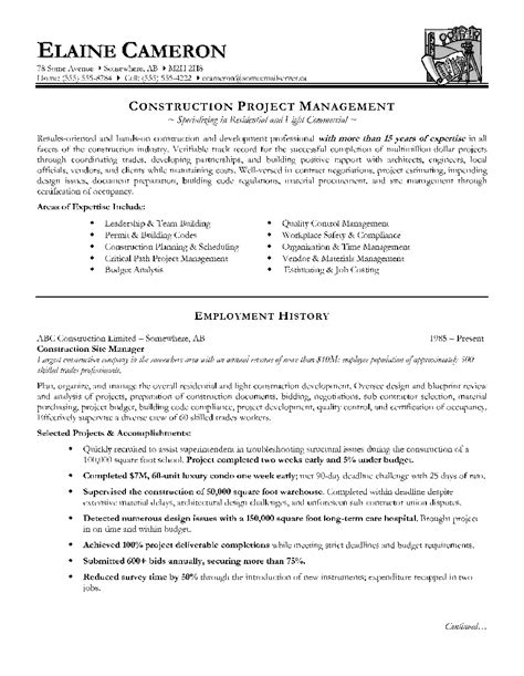 Construction Resume by Construction Resume Skills New Construction Manager Resume