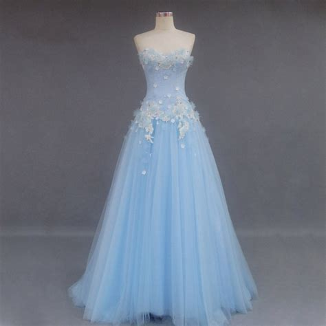 Fairism Dress new arrival tulle prom dresses light blue with applique a line strapless lace