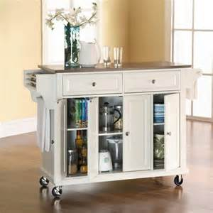 white kitchen island with stainless steel top crosley furniture kf30002ewh stainless steel top kitchen cart island in white finish