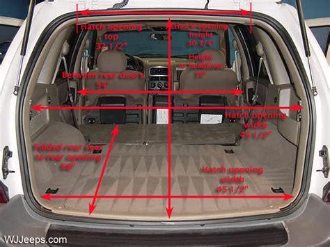 jeep compass interior dimensions jeep grand cherokee wj cargo area dimensions
