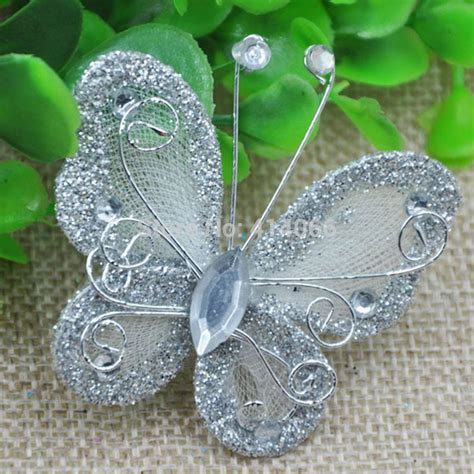 Silver Butterflies Decoration by Free Shipping 50pcs Silver Color Organza Wire Rhinestone