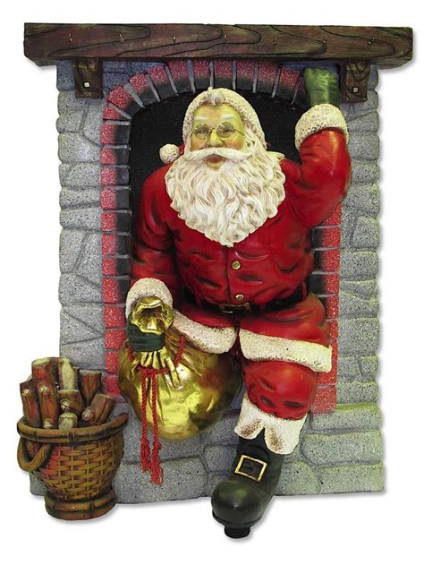 Santa Fireplace Picture by Resin Santa In Fireplace Decor 1 5m Large Decor