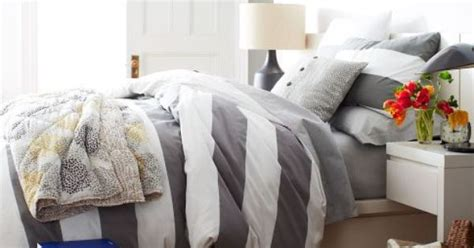 white puffy comforter pretty white and grey wide stripes i like the puffy