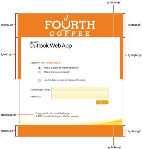 Office Outlook Web Access Sign In by Customize The Outlook Web App Sign In And Sign Out Pages