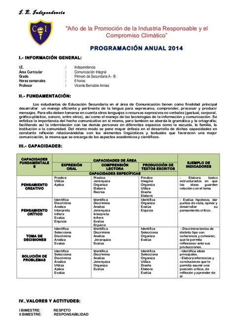 programacion anual de comunicacion programaci 243 n anual comunicaci 243 n 1 a b