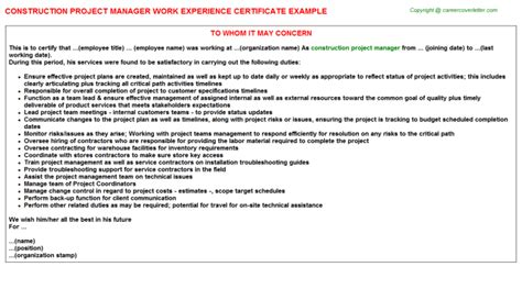 Experience Letter Construction Company Construction Project Manager Work Experience Certificate