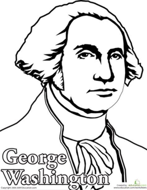 george washington coloring page for kindergarten color george washington coloring page education com