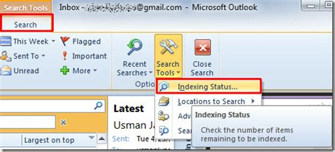 How To Search Emails View Indexing Status For Searching In Outlook 2010
