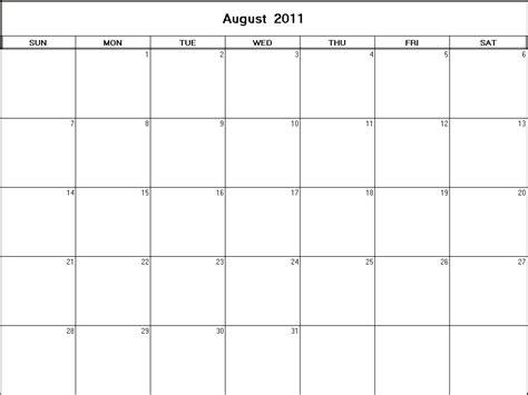August 2011 Calendar August 2011 Printable Blank Calendar Calendarprintables Net