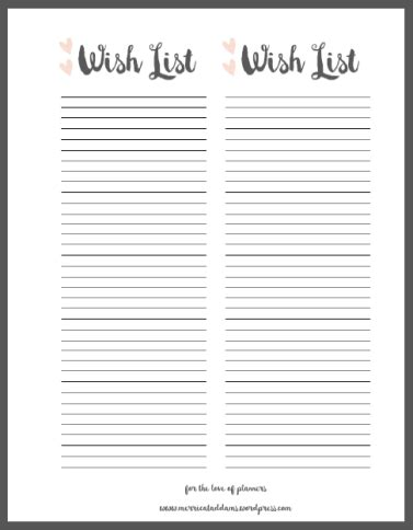 Planner Accessory Wish List Free Printable Merricat Addams Wish List Template