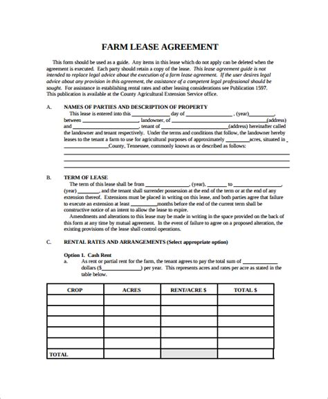 Land Rental Contract Template by 9 Sle Land Lease Agreement Templates Sle Templates