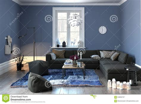 blue room lounge interior of a modern lounge in grey and blue stock illustration image 64856767