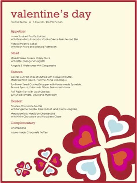 prix fixe menu template hearts prix fixe menu s day menus