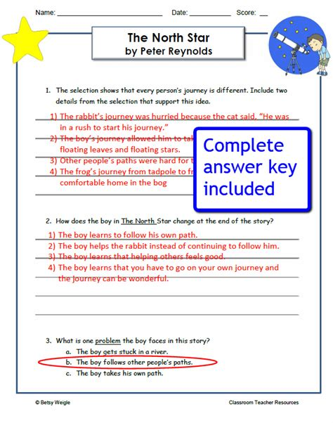 reading comprehension test with answer key quot the north star quot comprehension worksheets caboodle