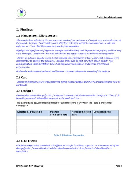 project completion template project completion report template in word and pdf formats
