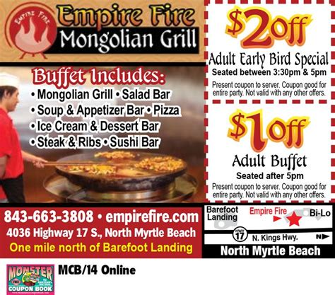 Pin By Myrtle Beach Resorts On Coupons For Myrtle Beach Mongolian Buffet Coupons