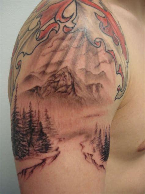 tattoo eagle river alaska mountain scene tattoo