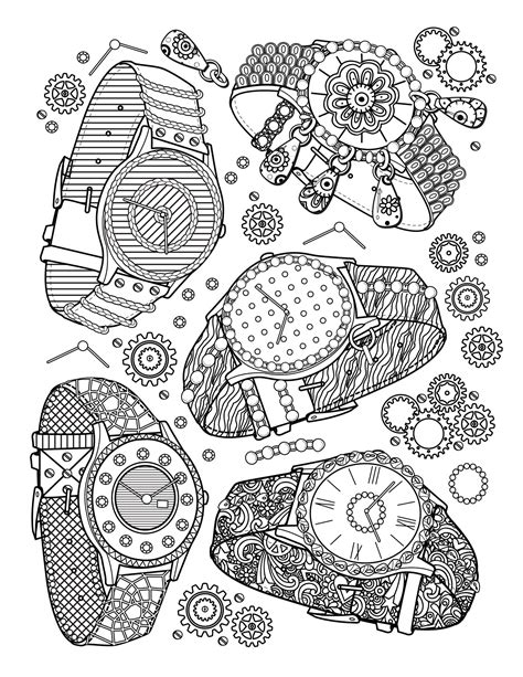 book jewelry watches fashion coloring pages