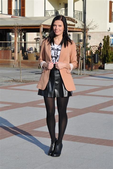 m zara leather skirt h m blazer coral chic