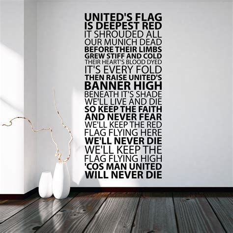manchester united wall sticker united s flag manchester united wallsticker fra kun
