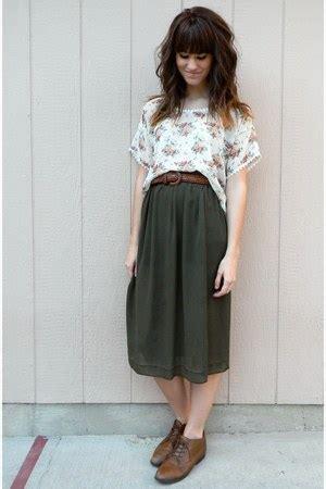 Kain Rok Lilit Green Browen green skirts brown vintage shoes brown
