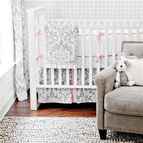 Gray Damask Crib Bedding Damask Crib Bedding Transitional Nursery New Arrivals Inc
