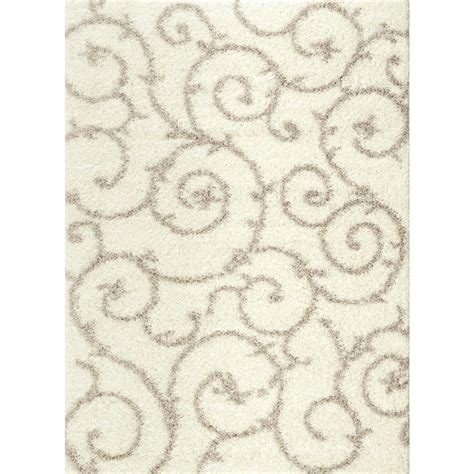 Modern White Rug World Rug Gallery Soft Cozy Contemporary Scroll White 7 Ft 10 In X 10 Ft Indoor Shag