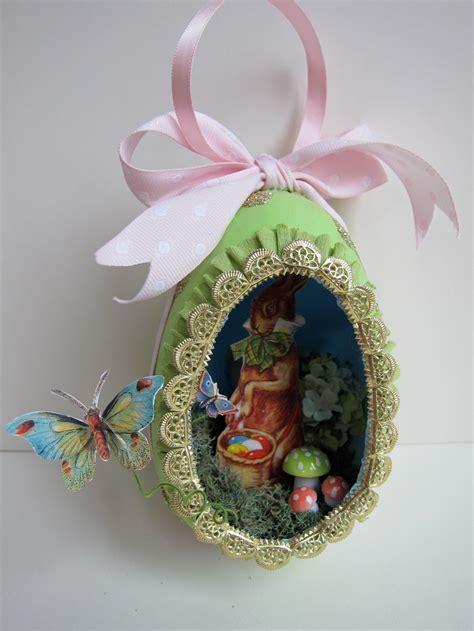 vintage diorama egg ornaments ooak easter egg diorama ornament vintage style papier mache