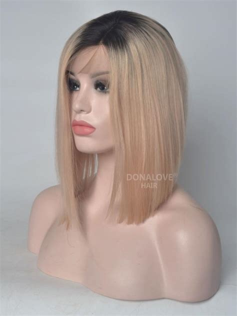 Aksesoris Hairpiece Pengantin Hairp 043 black to angle cut lace front human hair wig hh043